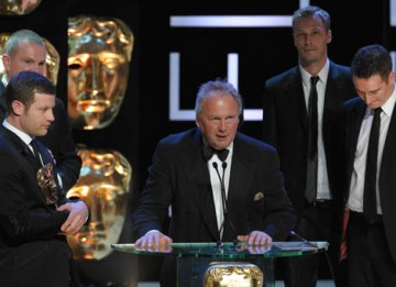 Richard Holloway, Andrew Linares, Siobhan Green and Mark Sidaway celebrated their BAFTA win in the Entertainment Programme category for musical talent show X Factor (BAFTA / Marc Hoberman).