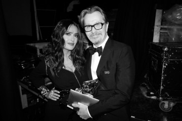 Salma Hayek and Gary Oldman backstage after his Leading Actor win!