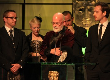 The winning team behind the moving documentary, including Craig Hunter, Charlie Russell, Gary Scott and Terry Pratchett.