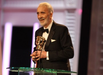 Sir Christopher Lee on stage at the Royal Opera House accepting the Academy Fellowship at the 2011 Orange British Academy Film Awards.