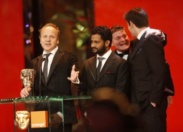Slumdog makes it three wins out of three as Glenn Freemantle, Resul Pookutty, Richard Pryke, Tom Sayers and Ian Tapp collect the BAFTA for Sound (BAFTA / Marc Hoberman).