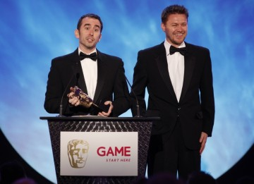 Evan Wells and Christophe Balestra, the development team behind Uncharted 2: Among Thieves, accepting the award for best Action Game (BAFTA/Brian Ritchie)