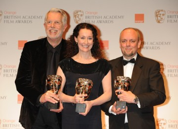 The winning make-up and hair team, Mark Coulier, Marese Langan and J. Roy Helland.