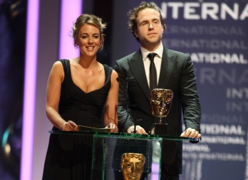 Spooks actress Miranda Raison and Rafe Spall announce that Mad Men is the winner of the International BAFTA.(BAFTA/Steve Butler)