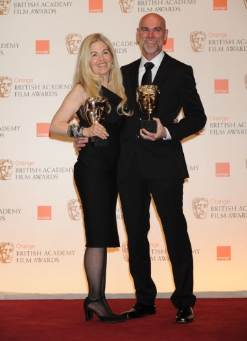 Make-Up & Hair winners Valli O'Reilly and Paul Gooch. (Pic: BAFTA/Richard Kendal)