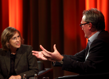 Peter Bennett-Jones in conversation with TV journalist Kirsty Wark. (Picture: BAFTA / J. Simonds)
