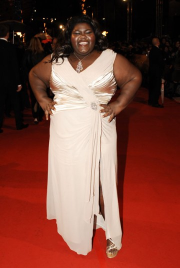 Dazzling in her long gold Tadashi dress, Gabourey Sidibe appears to be living the dream of her character in Precious, for which she has been nominated for the Leading Actress award (BAFTA/Richard Kendal).
