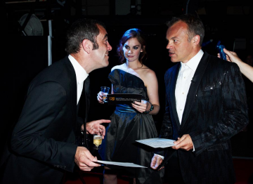 James Nesbitt, Ruth Wilson and Graham Norton backstage at the 2010 BAFTA Television Awards.