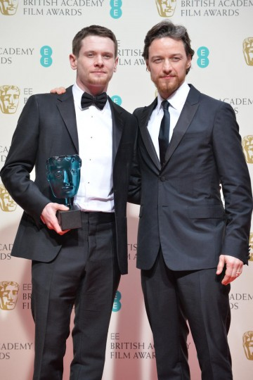 EE Rising Star winner Jack O'Connell with James McAvoy