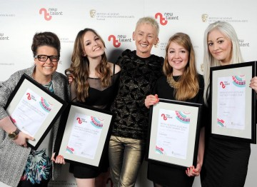 British Academy Scotland New Talent Award Winners with presenter Muriel Gray