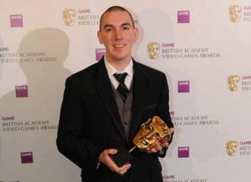 Robert Bowling celebrates his Gameplay Award for Call of Duty 4: Modern Warfare  (BAFTA / James Kennedy).