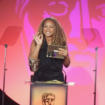 Angela Griffin presents the award for Writer: Drama at the British Academy Television Craft Awards in 2015