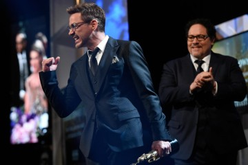 Honoree Robert Downey Jr. accepts the Stanley Kubrick Britannia Award for Excellence in Film