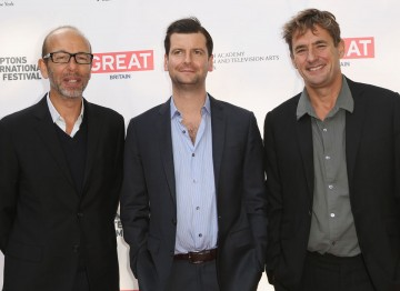 BAFTA New York Board Member Luke Parker Bowles with honorees Eric Fellner and Tim Bevan.