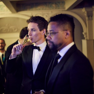 Eddie Redmayne and Cuba Gooding Jr. relax in the J. Kings Smoking Room at London's Royal Opera House