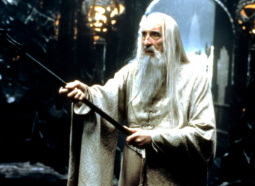 Christopher Lee as Saruman in the first film of the series based on J. R. R. Tolkien's The Lord of the Rings. Pic: c.New Line/ Everett/ Rex Features