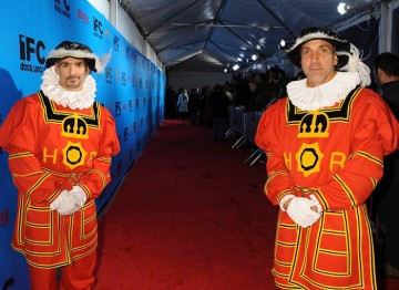 British Beefeaters welcome guests to the Monty Python reunion event in New York.