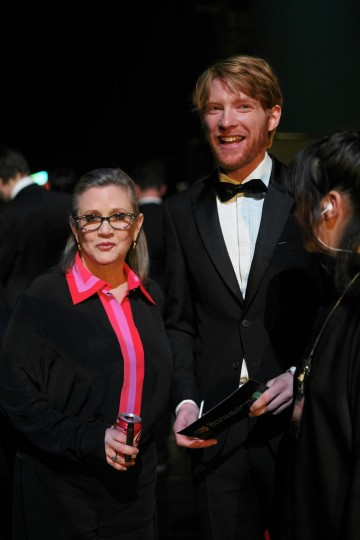 Carrie Fisher and Domhnall Gleeson prepare to present the award for Film Not In The English Language