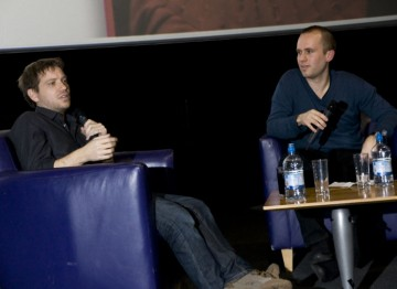Gareth Edwards answers questions from Cardiff-based filmmaker Tom Betts. Pic: Jon Pountney.