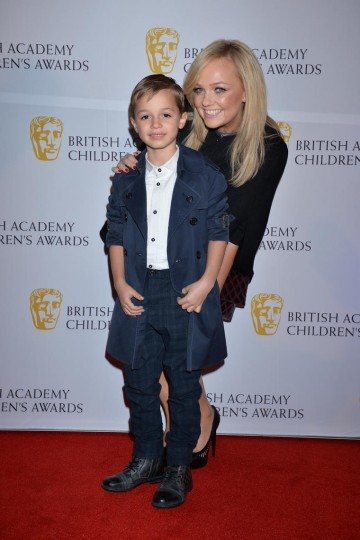 Singer Emma Bunton and her son arrive at the British Academy Children's Awards in 2014