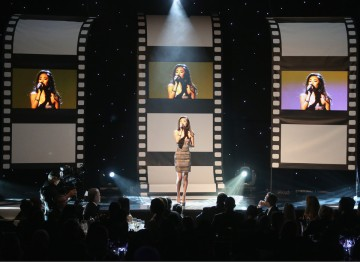 Jessica Sanchez singing at the Britannia Awards.