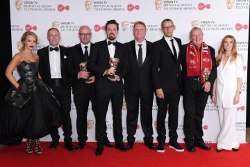 Single Documentary Winners with Katie Piper & Stacey Dooley: Hillsborough L-R - Andy Worboys, Nicholas Bennett, Daniel Gordon, Andy Boag, Phil Scraton, Tim Atack, John Battsek