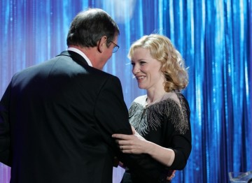Cate Blanchett presents Mike Newell with the John Schlesinger Britannia Award for Artistic Excellence in Directing
