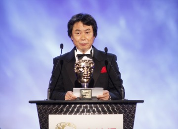 Shigeru Miyamoto, the man behind such classic games as Mario Bros, Donkey Kong, The Legend of Zelda, Nintendogs and Wii Music makes his acceptance speech for the prestigious Academy Fellowship (BAFTA/Brian Ritchie)