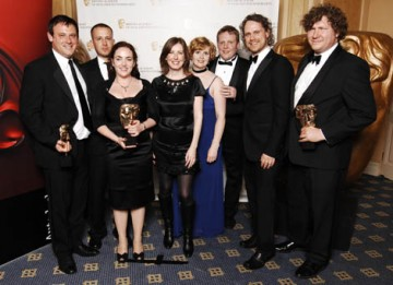 The Mill team - represented by Will Cohen, Marie Jojnes and David Hougton amongst others - celebrate their win in the Visual Effects category for Doctor Who (Fire Of Pompeii) (BAFTA / Richard Kendal).