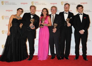 The team behind Borgen, including Adam Price, Sidse Babett Knuden, Kragh-Jacobsen and Jeppe Gjervig Gram, celebrate their win in the International category alongside presenters Vicky McClure and Sam Claflin.