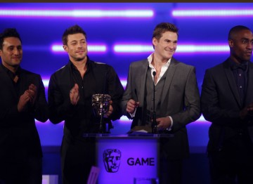 This year's UK hopes at Eurovision present the award for Multiplayer. (Pic: BAFTA/Brian Ritchie)