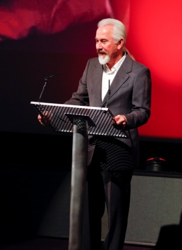 Rick Baker on stage at London's BFI (BAFTA/Brian J Ritchie).