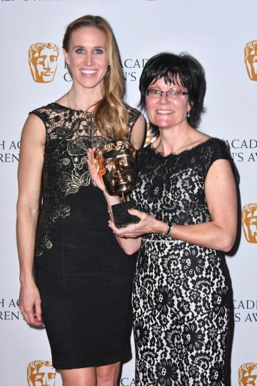 Helen Glover with Kay Benbow, winner of Channel of the Year Award for Cbeebies