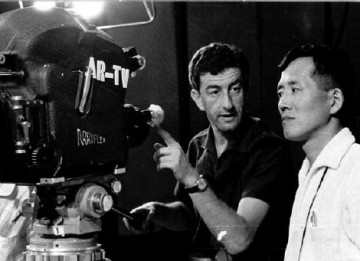 Peter Morley on the set of The Two Faces of Japan, 1960