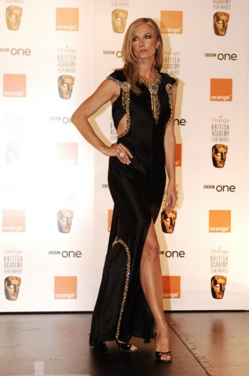 Citation reader and Nip/Tuck star Joely Richardson wore a black and gold Joan of Arc haute couture gown by Karl Lagerfeld for Chanel. (pic: BAFTA/Richard Kendal)