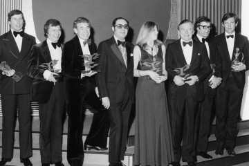 The winners from London Weekend Television at the Awards in 1975 when the broadcaster was at the height of its popularity.
