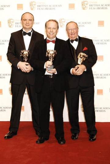 Nick Park, Bob Baker and Steve Pegrum collect the Best Short Animation for Wallace & Gromit: A Matter Of Loaf & Death.