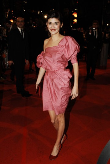 Audrey Tautou, Leading Actress nominee for Coco Before Chanel arrives on the red carpet in a striking pink Lanvin dress (BAFTA/Richard Kendal).