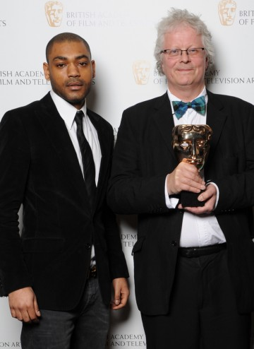 Break-through Talent winner Kwadjo Dajan for Appropriate Adult was unable to collect his Award in person. The show's writer Neil McKay picked up the Award on his behalf. He's picture here with actor and rapper Kane Robinson.
