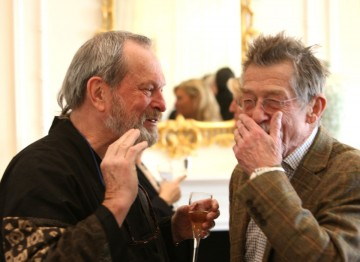 British actors Terry Gilliam and John Hurt enjoying one another's company at the champagne reception.