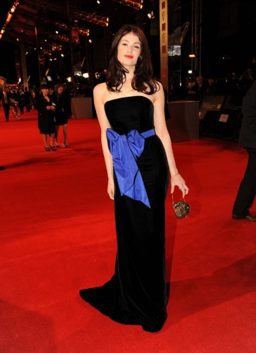 Star of Tamara Drewe and The Disappearance Of Alice Creed, Arterton is up for this year's Orange Wednesdays Rising Star award. Arterton is wearing a black velvet YSL dress with navy bow (Pic: BAFTA/Richard Kendal)
