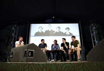 July 18: The Inbetweeners cast members line up on stage in the Latitude Film tent (Picture: Jonathan Birch)