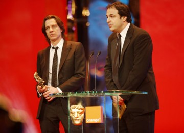 Simon Chinn and James Marsh accept the coveted Outstanding British Film BAFTA for the high-wire documentary Man on Wire (BAFTA / Marc Hoberman).