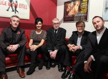 The Coronation Street 50th Anniversary Event panel from left to right: Kieran Roberts, Kym Marsh, Tony Warren, David Neilson and Phil Collinson. Pic: Steve Butler