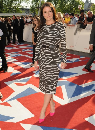 The Million Pound Drop presenter, pictured here in a Michael Kors dress with Jimmy Choo shoes, will present the award for Male Performance in a Comedy Programme.