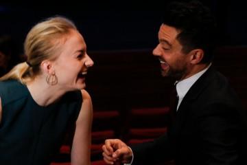 Sophie Turner and Dominic Cooper backstage