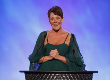 Lisa Morgan, CEO of Video Games Award sponsor GAME, makes her opening presentation (BAFTA/Brian Ritchie)