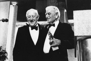 Sir Alec Guinness (left) celebrates receiving the Academy Fellowship with Sir David Lean in 1989.
