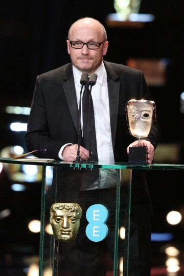 Lenny Abrahanson collects the award for Leading Actress on behalf of Brie Larson at the 2016 EE British Academy Film Awards