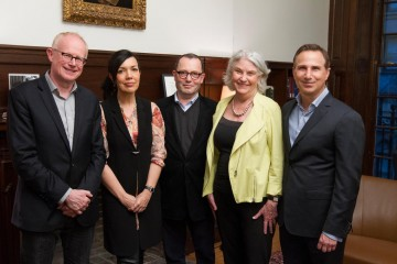 Charles Tremayne, Chairman of BAFTA New York, Sarah Barnett, moderator Colin Callender, Rebecca Eaton and Paul Buccieri